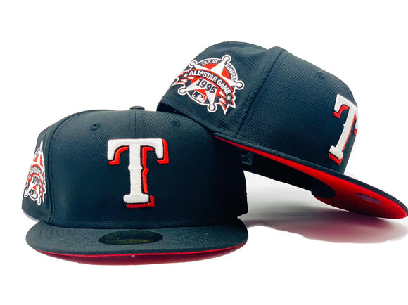 TEXAS RANGERS 1995 ALL STAR GAME BLACK RED BRIM NEW ERA FITTED HAT