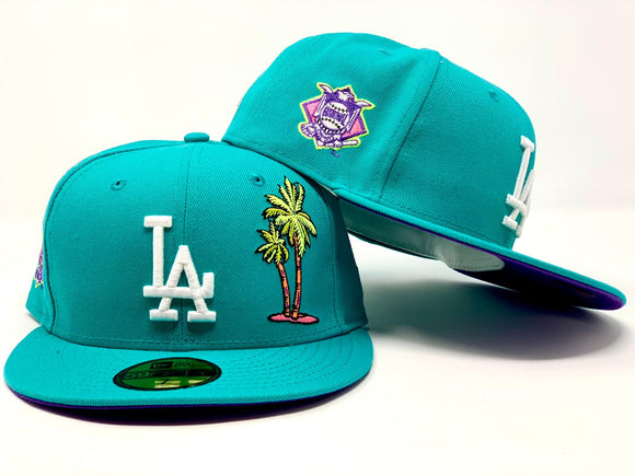 LOS ANGELES DODGERS PALM TREE TEAL PURPLE BRIM NEW ERA FITTED HAT