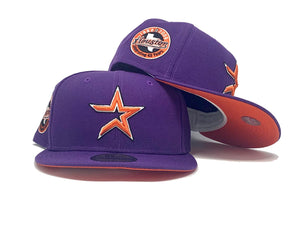 HOUSTON ASTROS 45TH ANNIVERSARY DEEP PURPLE ORANGE BRIM NEW ERA FITTED HAT