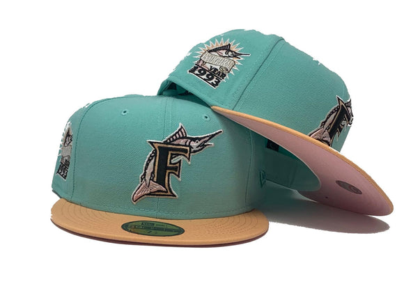 FLORIDA MARLIN 1993 INAUGURAL SEASON CLEAR MINT PEACH PINK BRIM NEW ERA FITTED HATFITTED HAT