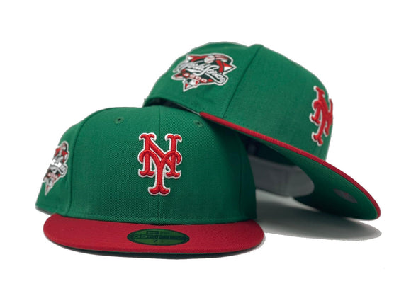 NEW YORK METS 2000 WORLD SERIES KELLY GREEN RED BRIM NEW ERA FITTED HAT