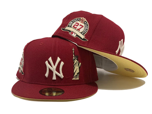 NEW YORK YANKEES STATUE OF LIBERTY 27TH CHAMPIONSHIP BURGUNDY BUTTER POPCORN YELLOW BRIM NEW ERA FITTED HAT