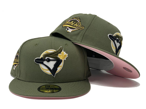 TORONTO BLUE JAYS 1993 WORLD SERIES OLIVE GREEN PINK BRIM NEW ERA FITTED HAT