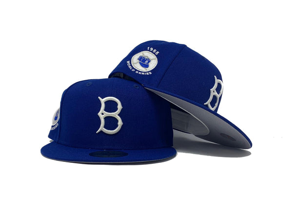 BROOKLYN DODGERS 1955 WORLD SERIES ROYAL GRAY BRIM NEW ERA FITTED HAT