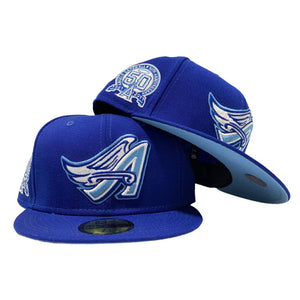 LOS ANGELES ANGELS 50TH ANNIVERSARY ROYAL ICY BRIM NEW ERA FITTED HAT