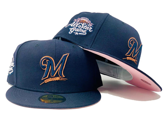 MILWAUKEE BREWERS 2002 ALL STAR GAME NAVY PINK BRIM NEW ERA FITTED HAT