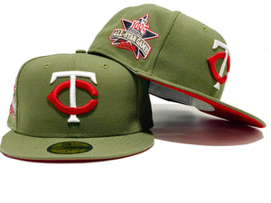 MINNESOTA TWINS 1985 ALL STAR GAME OLIVE GREEN RED BRIM NEW ERA FITTED HAT