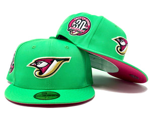 TORONTO BLUE JAYS 30TH SEASON ISLAND GREEN  FUSION PINK BRIM NEW ERA FITTED HAT