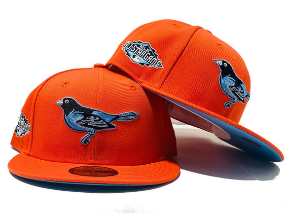 BALTIMORE ORIOLES 2011 ALL STAR GAME ORANGE ICY BRIM NEW ERA FITTED HAT