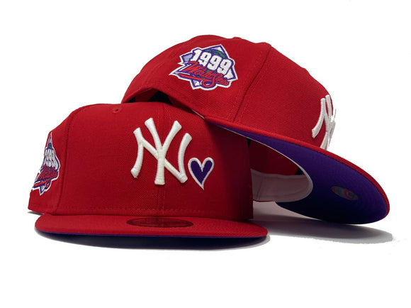 NEW YORK YANKEES 1999 WORLD SERIES RED PURPLE BRIM NEW ERA FITTED HAT