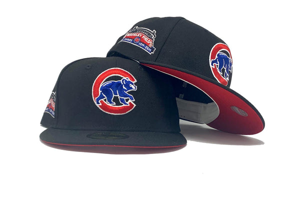 CHICAGO CUBS WRIGLEY FIELD BLACK RED BRIM NEW ERA FITTED HAT