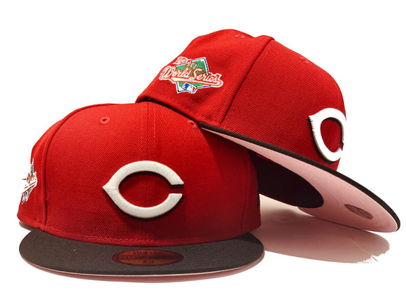 CINCINNATI REDS 1990 WORLD SERIES PINK BRIM NEW ERA FITTED HAT