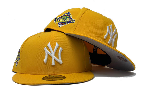 NEW YORK YANKEES 1996 WORLD SERIES TAXI YELLOW GRAY BRIM NEW ERA FITTED HAT