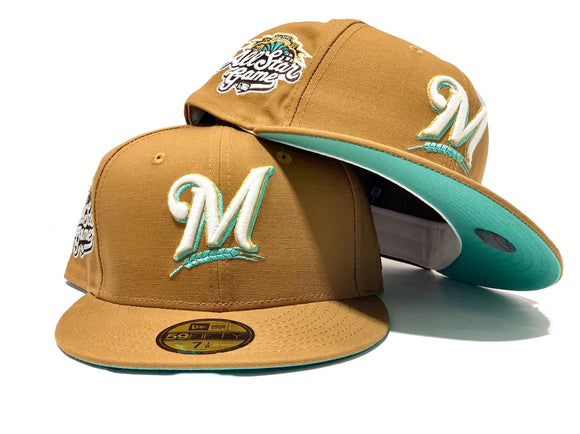 MILWAUKEE BREWERS 2002 ALL STAR GAME WHEAT MINT BRIM NEW ERA FITTED HAT