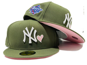 NEW YORK YANKEES 1998 WORLD SERIES OLIVE PINK BRIM NEW ERA FITTED HAT