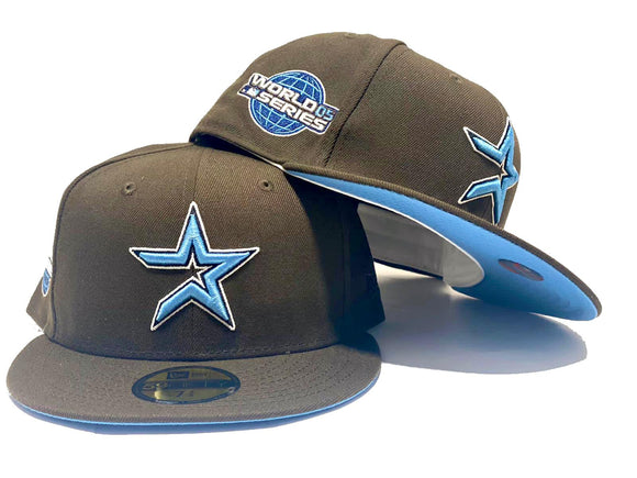 HOUSTON ASTRO 2005 WORLD SERIES WALNUT ICY BRIM NEW ERA FITTED HAT