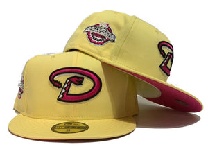ARIZONA DIAMONDBACKS 2001 WORLD SERIES BUTTER POPCORN YELLOW FUSION PINK BRIM NEW ERA FITTED HAT