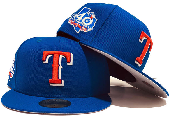 TEXAS RANGERS 40TH ANNIVERSARY ROYAL GRAY BRIM NEW ERA FITTED.