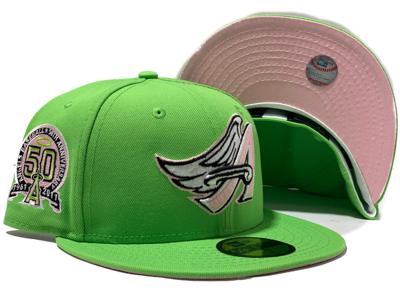 ANAHEIM ANGELS 50TH ANNIVERSARY LIME GREEN PINK BRIM NEW ERA FITTED HAT