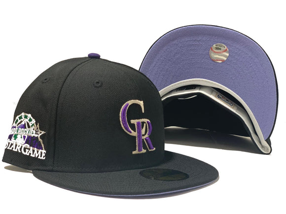 COLORADO ROCKIES 1998 ALL STAR BLACK LAVENDER BRIM NEW ERA FITTED HAT