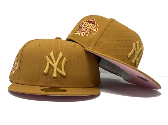 NEW YORK YANKEES 1999 WORLD SERIES WHEAT PINK BRIM NEW ERA FITTED HAT