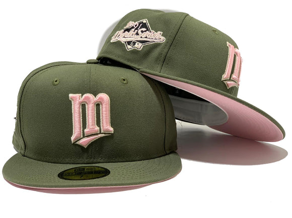 MINNESOTA TWINS 1990 WORLD SERIES OLIVE PINK BRIM NEW ERA FITTED HAT