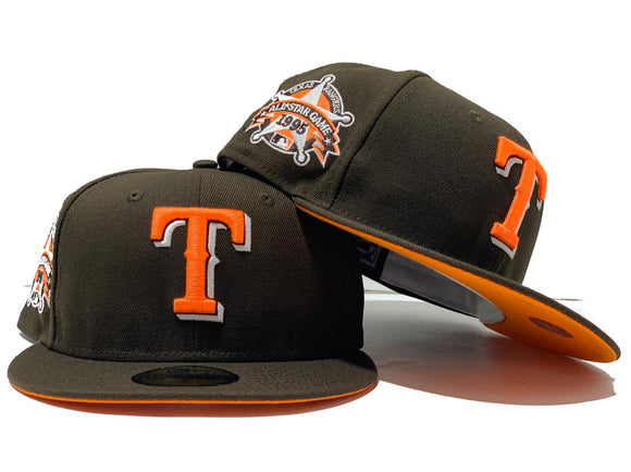 TEXAS RANGERS 1995 ALL STAR GAME BROWN NEON ORANGE BRIM NEW ERA FITTED HAT