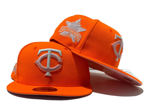 MINNESOTA TWINS 1985 ALL STAR GAME NEON ORANGE  PINK BRIM NEW ERA FITTED