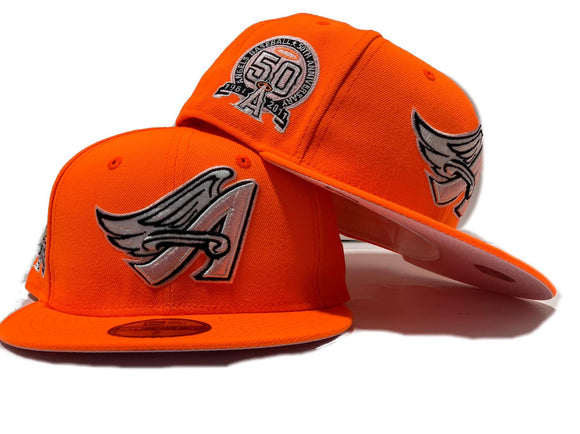 ANAHEIM ANGELS 50TH SEASON NEON ORANGE PINK BRIM NEW ERA FITTED