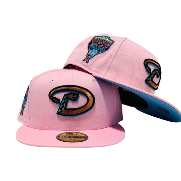 ARIZONA DIAMONBACKS 1998 INAUGURAL SEASON LIGHT PINK ICY BRIM  NEW ERA FITTED