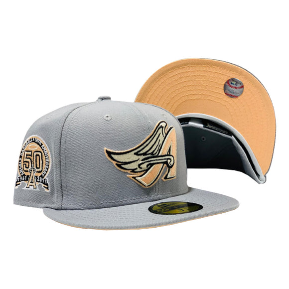 ANAHEIM ANGELS 50TH SEASON LIGHT GRAY PEACH BRIM NEW ERA FITTED HAT