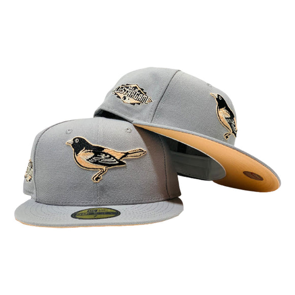 BALTIMORE ORIOLES 2011 ALL STAR GRAY PEACH BRIM NEW ERA FITTED HAT