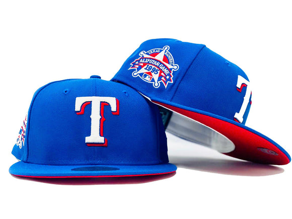 TEXAS RANGERS 1995 ALL STAR GAME ROYAL RED BRIM NEW ERA FITTED HAT