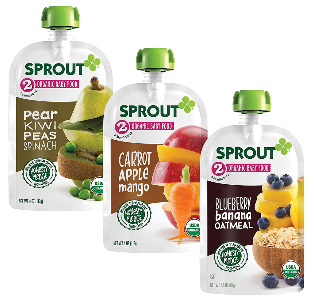 Sprout Stage 2 Organic Baby Food Sampler Variety Pack includes our Top 3 fan-favorite flavors! This variety pack includes 4 pouches each of our Blueberry Banana Oatmeal, Carrot Apple Mango, and Pear Kiwi Peas Spinach flavors. Made only with USDA Certified Organic and Non-GMO ingredients. For babies 6 months and up.