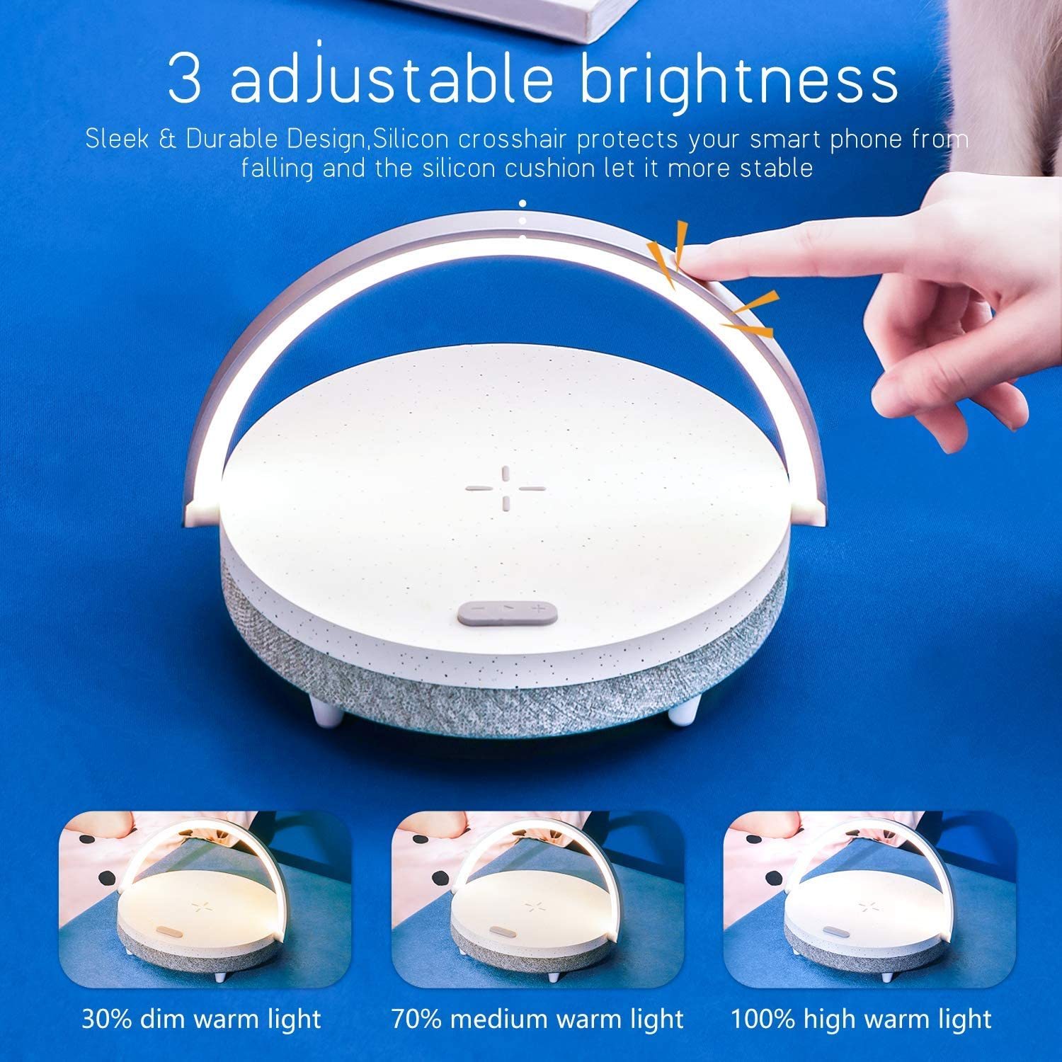Portable Table Sensor Control Bedside Lamps with Quick USB Charging Port