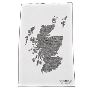 Scotland Map Names - White - Urban Pirate