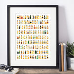 Whisky bottle art print every whisky bottle in scotland full colour