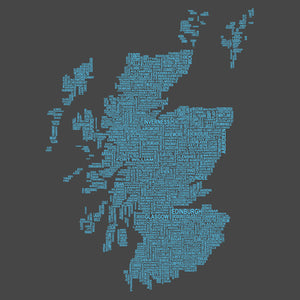 Scotland Map Names - Charcoal - UK8 - Urban Pirate
