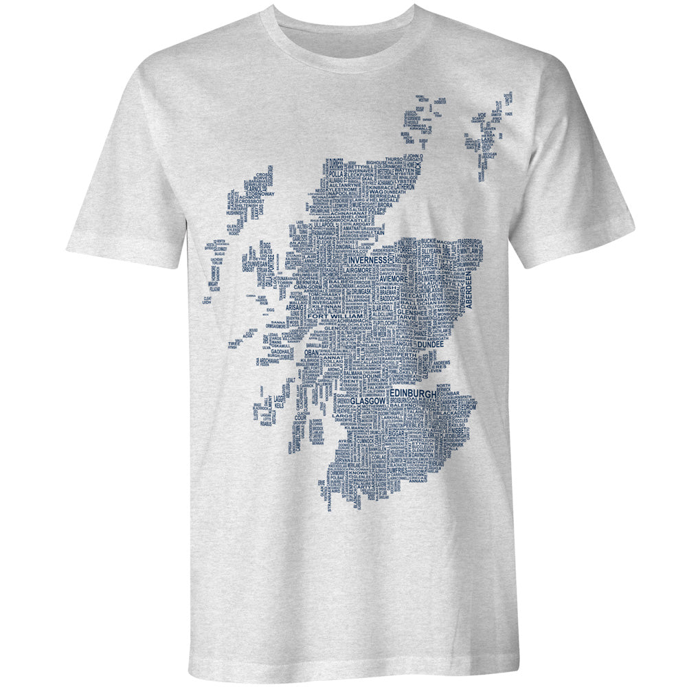 Scotland Map Names - Light Grey - Urban Pirate