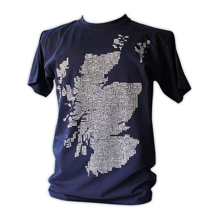 Scotland Map Names - Navy - Urban Pirate