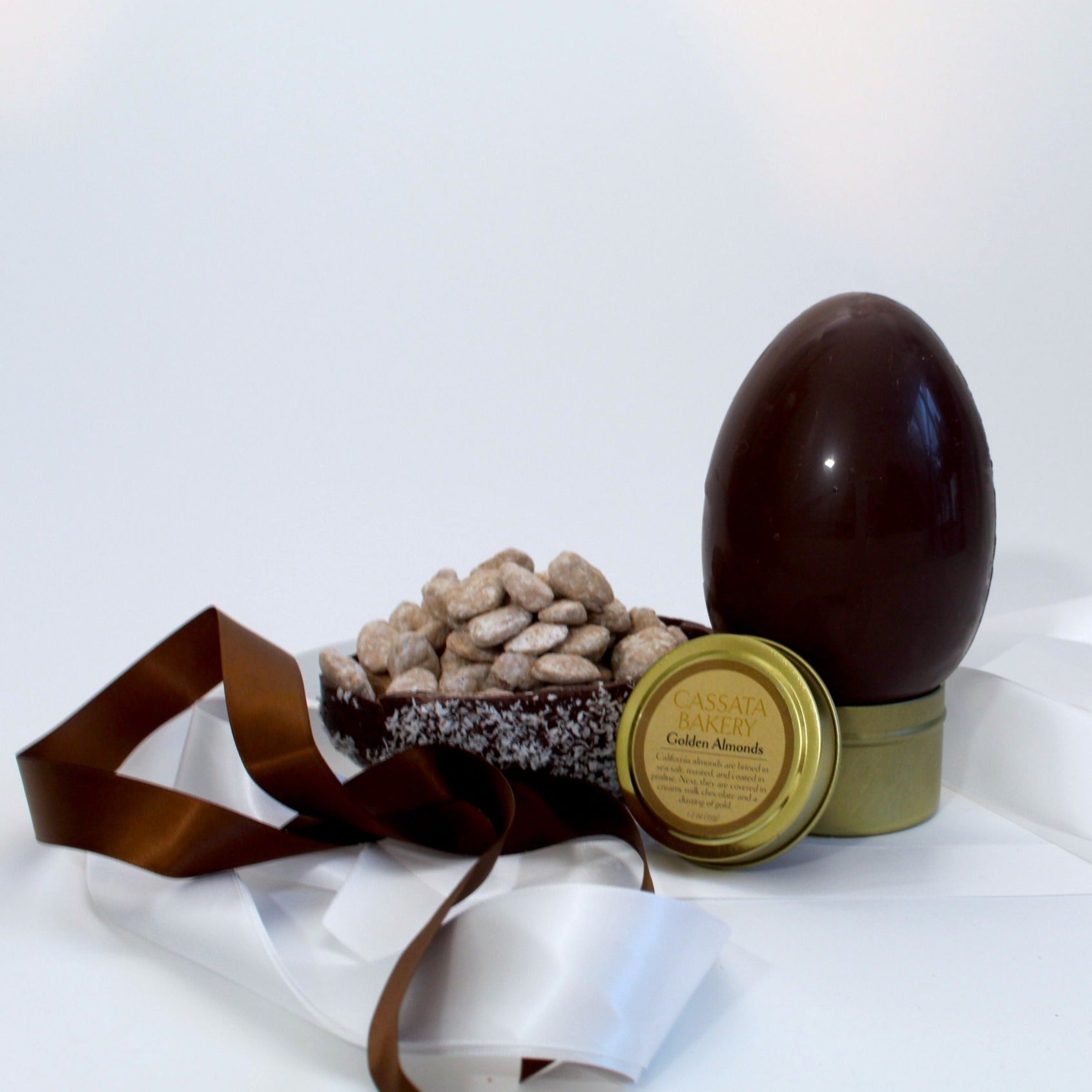 Cassata Bakery Golden Egg 61% dark chocolated filled with our signature Golden Almonds