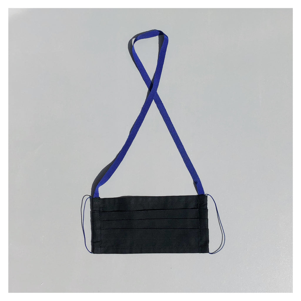 BLACK FACE MASK WITH BLUE NECK CORD FOR MEN