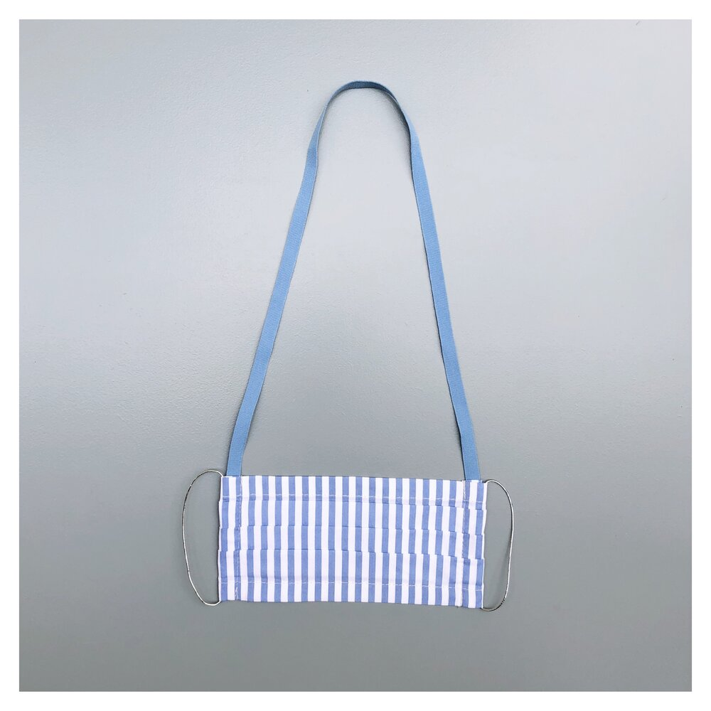 BLUE-WHITE STRIPES FACE MASK WITH NECK CORD (M)