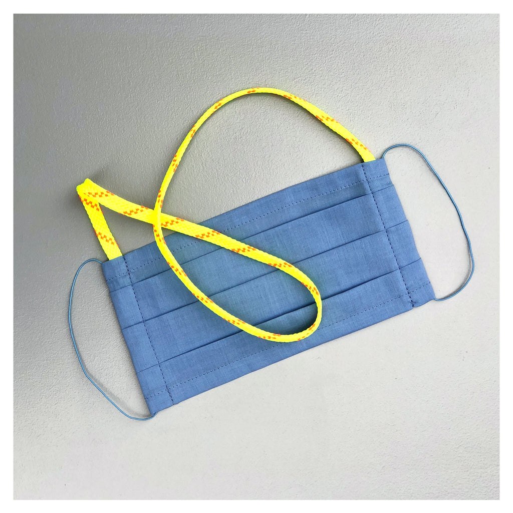 LIGHT BLUE FACE MASK WITH NEON NECK CORD FOR MEN