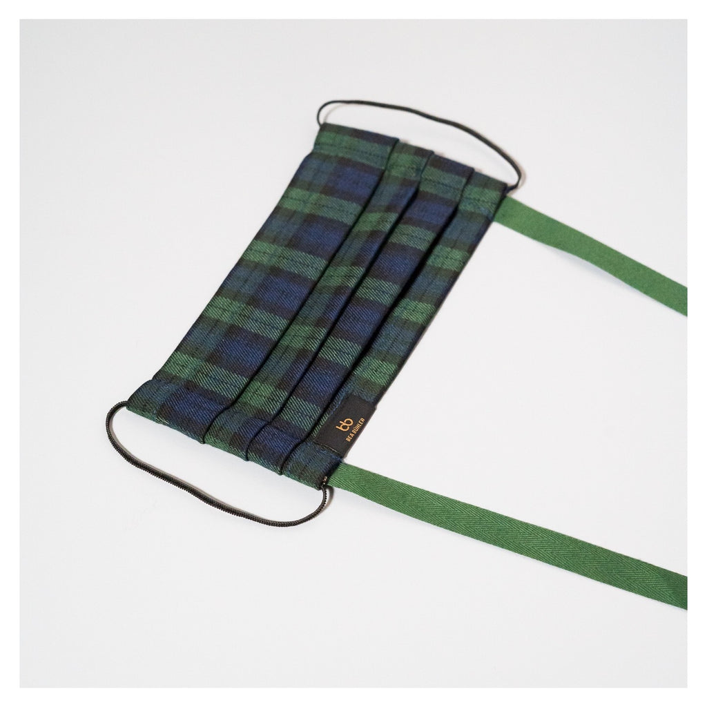 PLAID NAVY GREEN FACE MASK WITH GREEN NECK CORD (M)