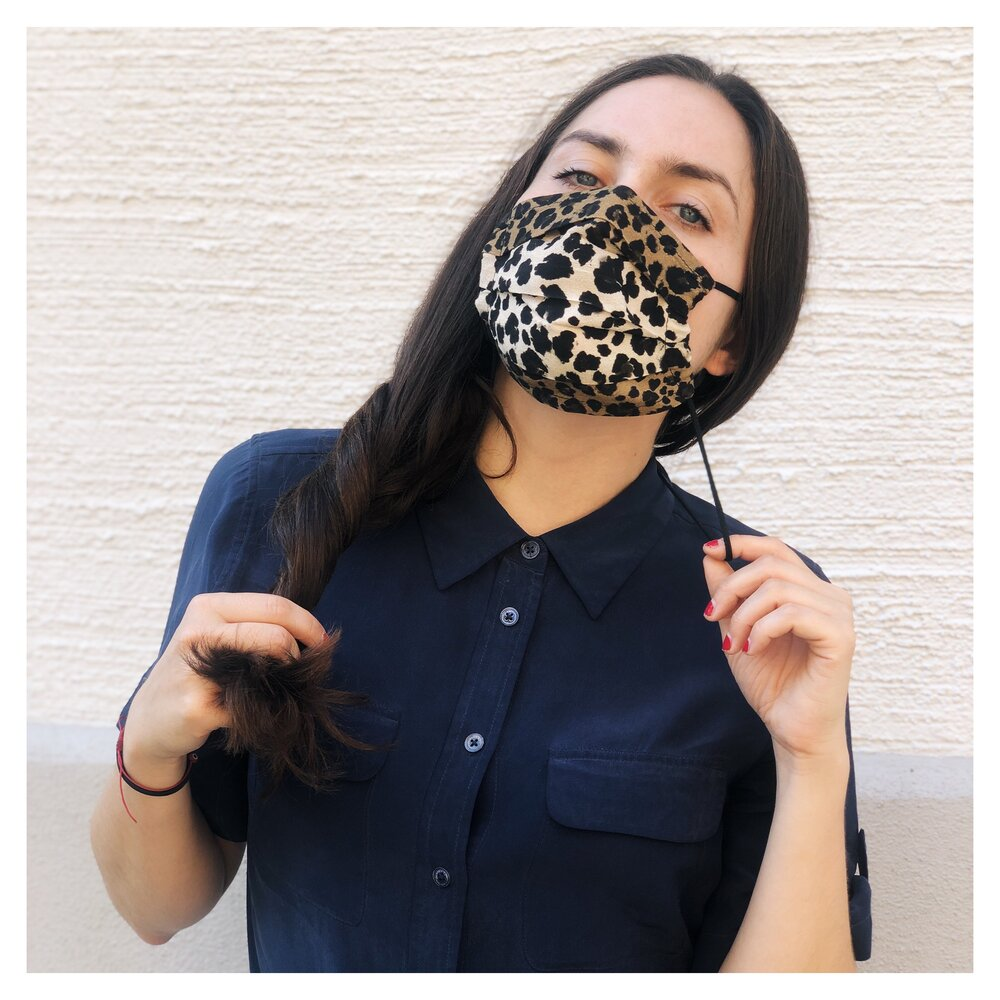 LEO PRINT VISCOSE FACE MASK WITH BLACK NECK CORD (M)
