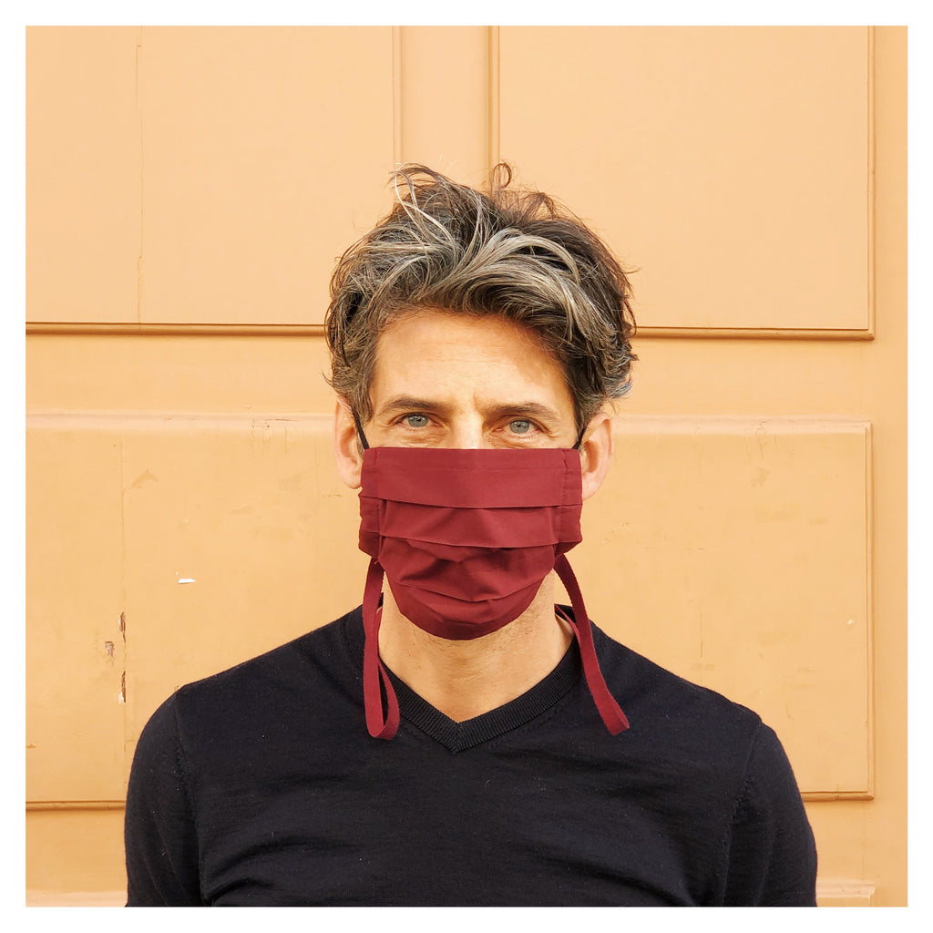 BORDEAUX FACE MASK WITH BORDEAUX NECK RIBBON FOR MEN
