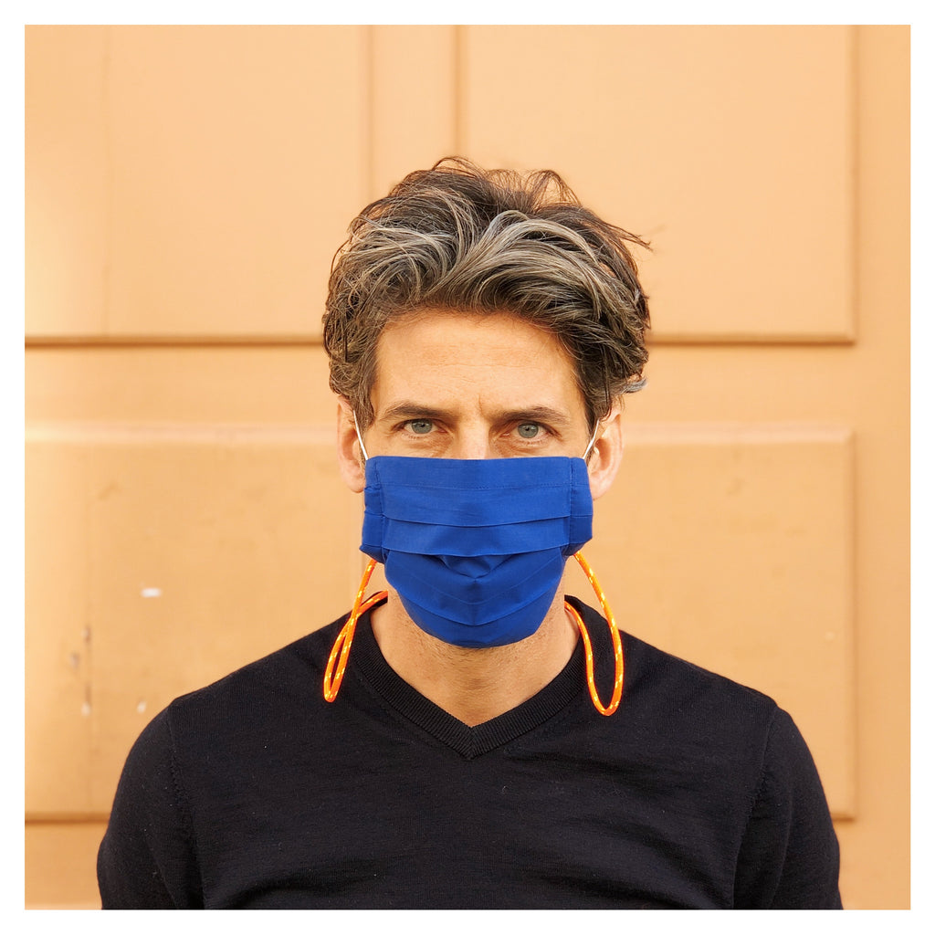 BLUE FACE MASK WITH NEON NECK CORD FOR MEN
