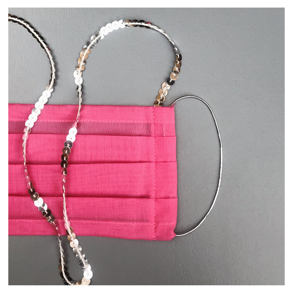 KIDS* PINK FACE MASK WITH NECK CORD (S)
