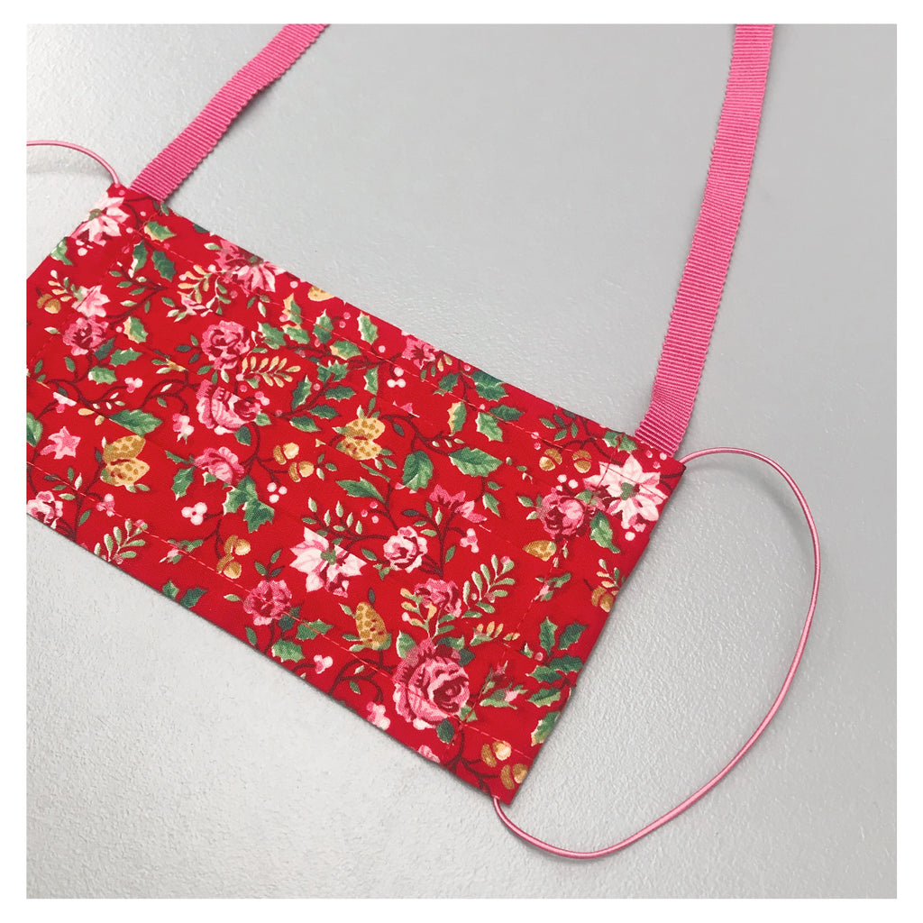 RED FLOWER FACE MASK WITH NECK CORD (M)